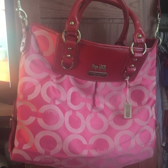 7752df689cb91 Coach and Four Accessories | Red And Pink Coach Purse | Poshmark